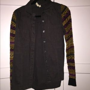 Free people flannel with funky sleeves
